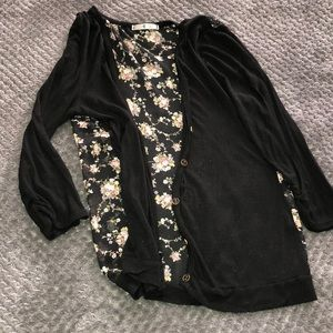 Cardigan black with floral backing